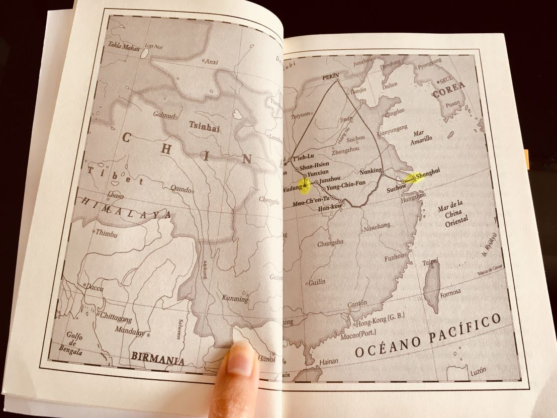 Mapa de las ciudades que recorren durante la travesía para llegar al mausoleo del primer emperador de China. (Foto: Sandra Ramírez Checnes)
